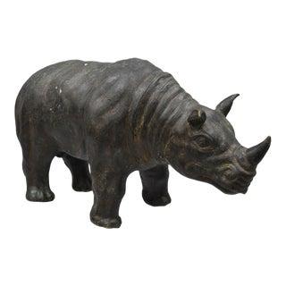 Vintage Patinated Bronze Clad Rhinoceros Statue Sculpture