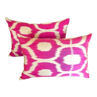 Contemporary Bright Pink and White Geometric Lumbar Pillows - a Pair