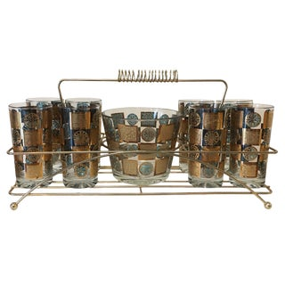Mid-Century Cocktail Caddy Set With Highball Glasses and Ice Bucket - 10 Pc.Set