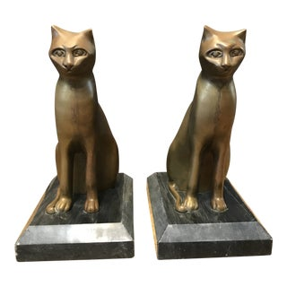 Mid Century Bronze Cat Bookends - a Pair For Sale