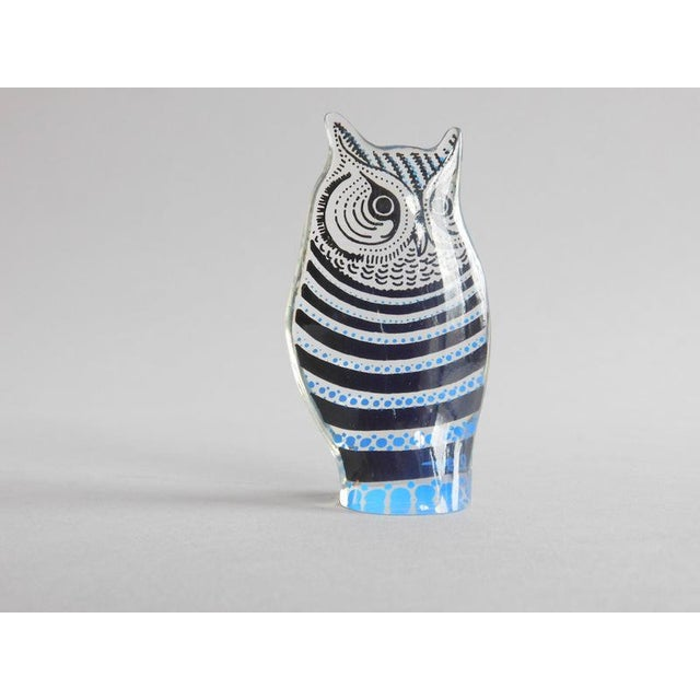 Lucite owl from Brazilian artist Abraham Palatnik features bricght blue and black details on transparent lucite. The owl...
