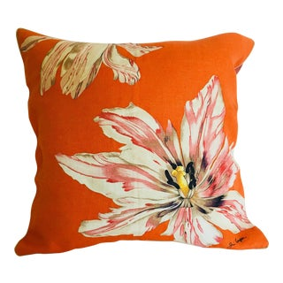 Jim Thompson Orange Designer Decorative Pillow With Lotus Flower Print For Sale