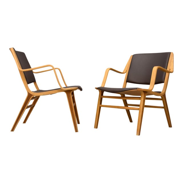 "Peter Hvidt & Orla Mølgaard-Nielsen Leather ""AX"" Chairs - A Pair For Sale"
