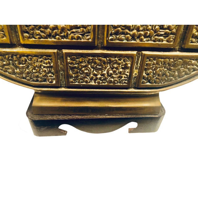 Metal 1950's Brass Bulbous Lamp For Sale - Image 7 of 9