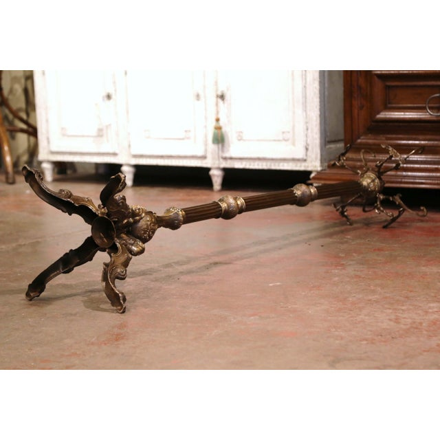 Early 20th Century Italian Gilt Brass Standing Hall Tree With Swivel Top For Sale - Image 10 of 11