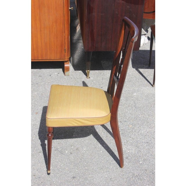 Set of Six French Art Deco Solid Mahogany Dining Chairs, circa 1940s - Image 7 of 9
