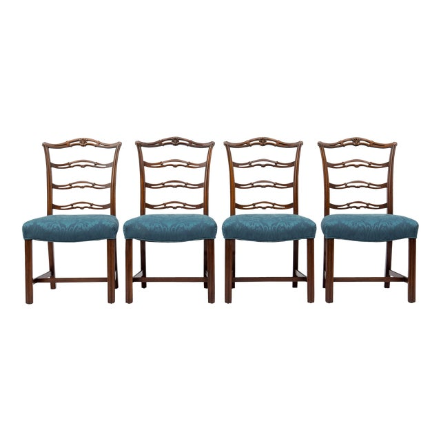 Chippendale Ladder-Back Side Chairs, S/4 For Sale