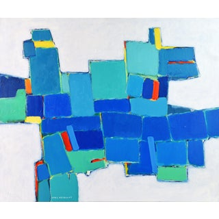 'Blue Composition' Original Abstract Painting by Lars Hegelund, 31 X 36 In. For Sale