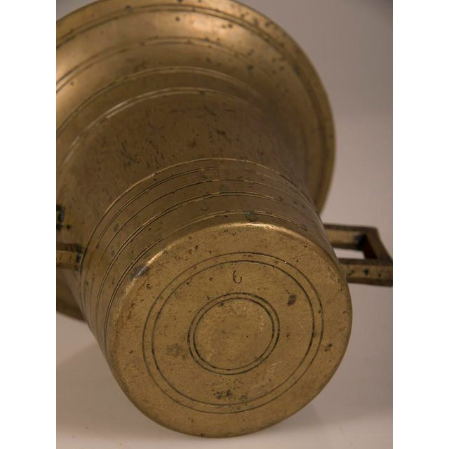 Brass Solid Cast Brass Mortar and Pestle, France c.1920 For Sale - Image 7 of 8