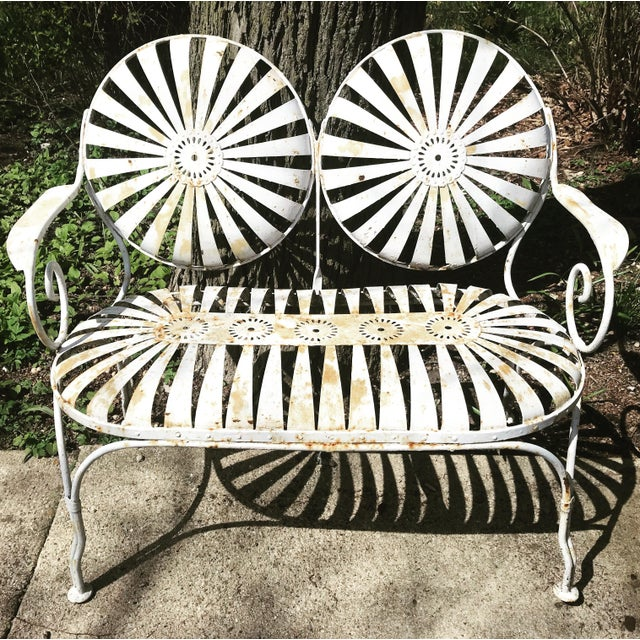 Francois Carre French Sunburst Garden Bench For Sale - Image 13 of 13