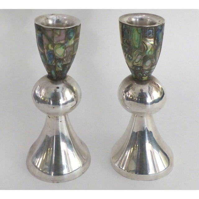 Los Castillo 'Taxco, Mexico' Silver Plate and Abalone Candleholders, Pair Offered for sale is a pair of silver plated and...