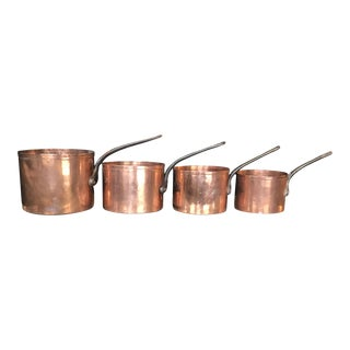Mid 19th Century Graduated French Copper and Iron Pots- Set of 4 For Sale