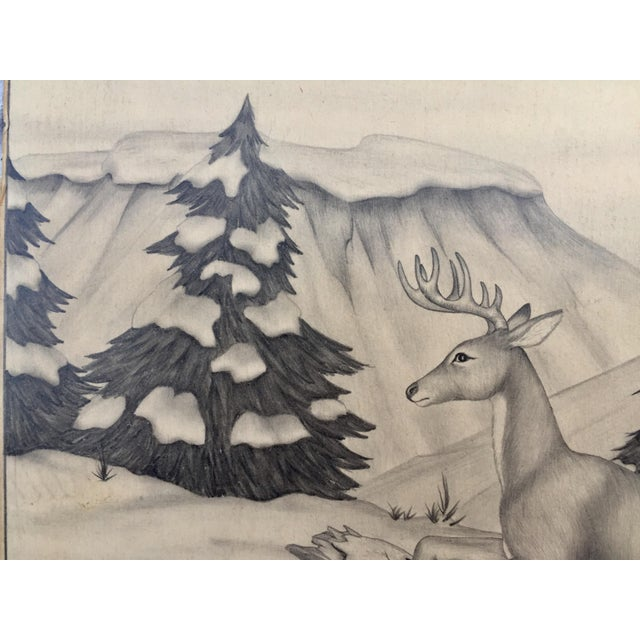 Deer in Winter Mountain Vintage Drawing by M. Keoke - Image 4 of 6