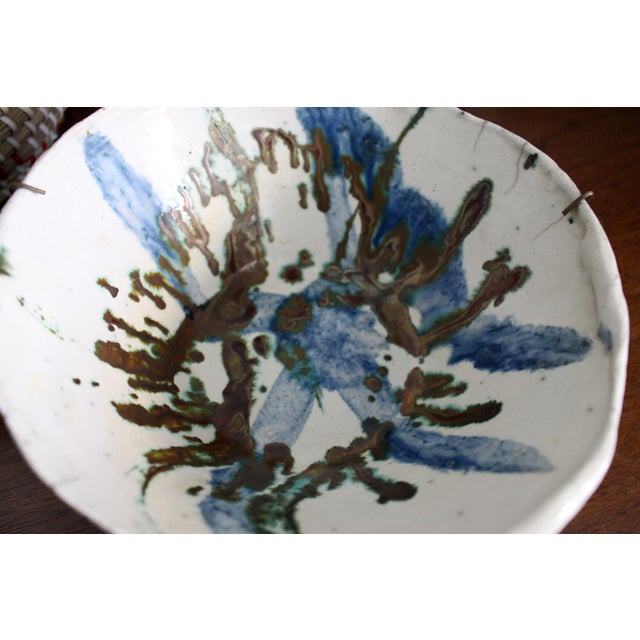 1970s Vintage Handmade Hand Glazed Studio Art Black Clay Pottery Bowl For Sale - Image 5 of 8