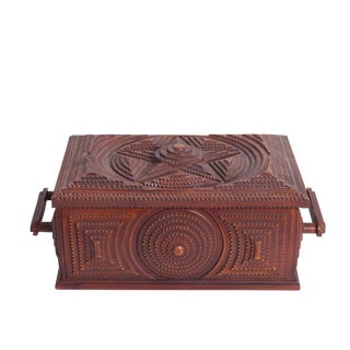 Cherry Wood Carved Box For Sale