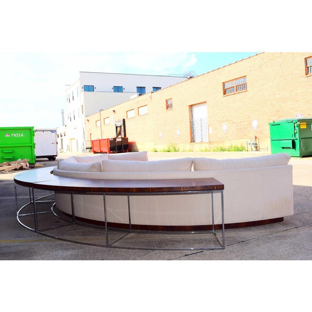 Metal 1960s Vintage Milo Baughman Semi-Circular Sofa With Rosewood Tables For Sale - Image 7 of 13