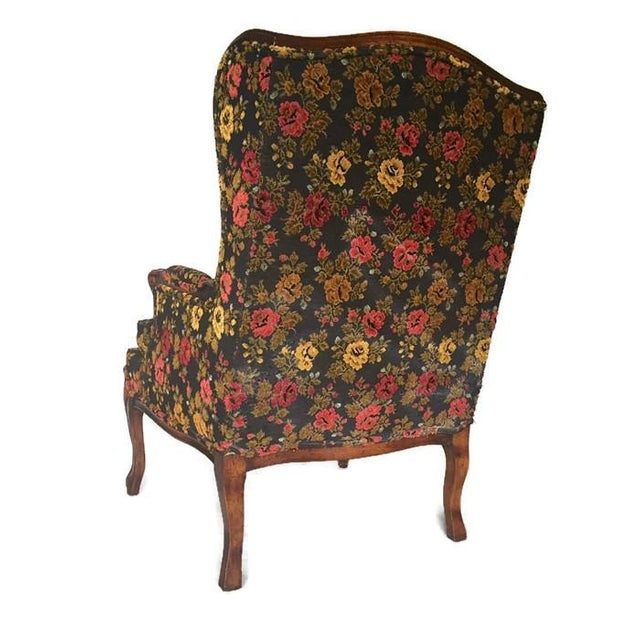 Vintage French Bohemian Wingback Armchair - Image 3 of 9