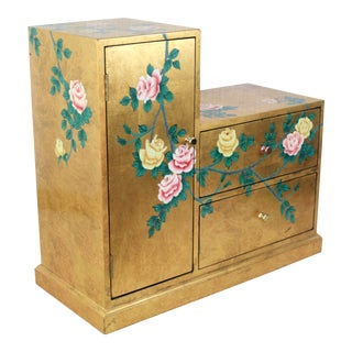 Vintage Gold Leaf Japanese Kaidan-Dansu (Step Chest), Aka Tansu Chest Hand-Painted For Sale