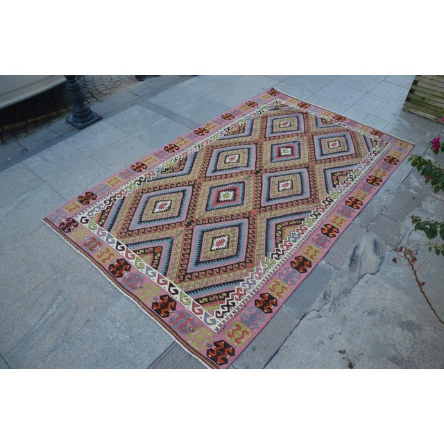 "Vintage Turkish Kilim Rug - 4'11"" X 8'2"" - Image 3 of 6"