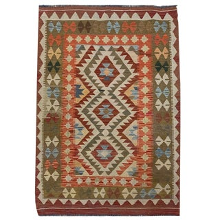 Southwestern Multicolored Small Geometric Hand Woven Carpet - 3' 4 X 5' 0 For Sale