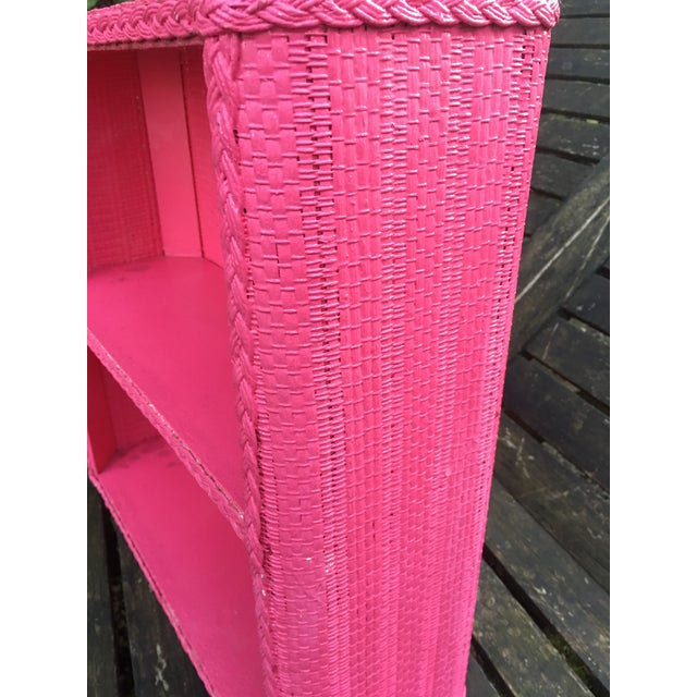 1950s Shabby Chic Hot Pink Wicker Shelf For Sale - Image 9 of 10