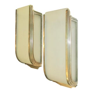 1930s Art Deco Nickeled Bronze Sconce Shades - a Pair For Sale