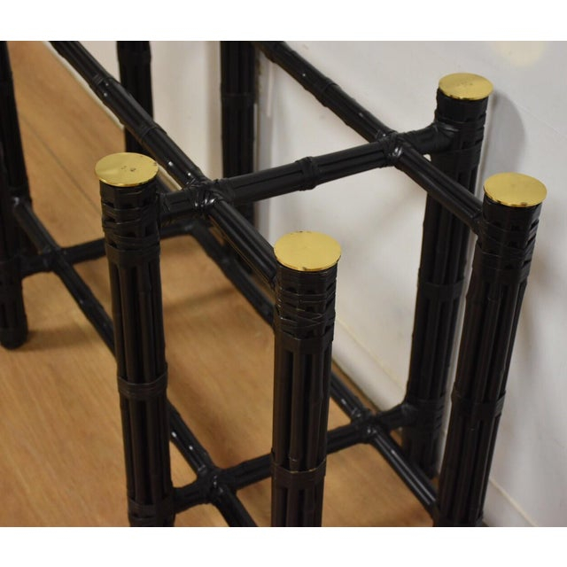 McGuire Black Bamboo Dining Table Base - Image 6 of 11