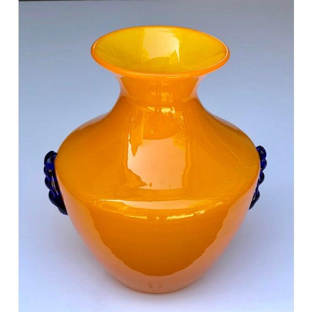 Superb A Rare Pair Of Blenko Orange Glass Vases With Applied Cobalt