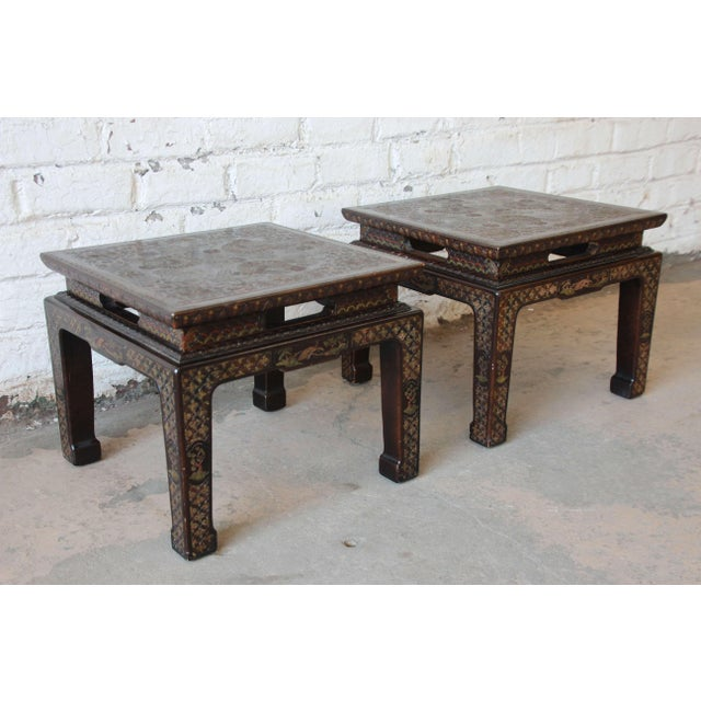 John Widdicomb Asian Faux Tortoise Shell End Tables - a Pair For Sale - Image 11 of 11
