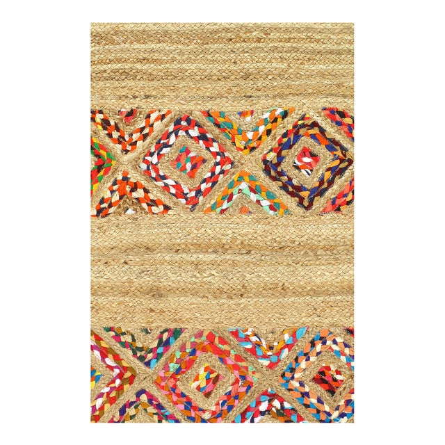 Modern Pasargad Handmade Braided Cotton & Organic Jute Rug - 2' X 3' For Sale - Image 3 of 4
