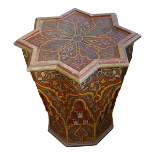 20th Century Moroccan Painted Wood Star Table For Sale