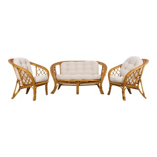 1970s French Rattan Sofa Set - Set of 3 For Sale