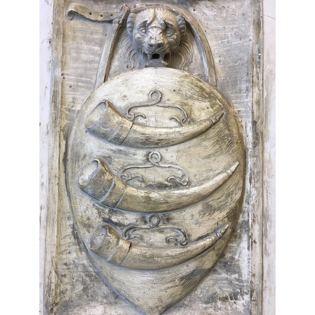 19th C Italian Cast Stone Coat of Arms Wall Sculpture For Sale - Image 4 of 11