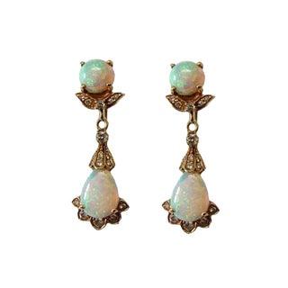 Vintage 18k Gold Opal and Diamond Pierced Earrings For Sale