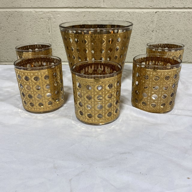 Metal Culver 22k Gold Canella Ice Bucket Glasses Set For Sale - Image 7 of 7