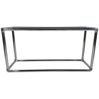 Classic 1970s Chrome and Glass Console Table Milo Baughman For Sale