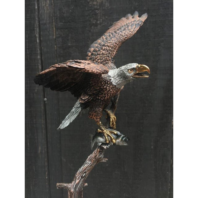 """Americana """"Sunday Brunch"""" Bronze/Marble Eagle Sculpture by Kitty Cantrell For Sale - Image 3 of 11"""