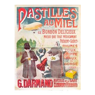 1890 Original French Art Nouveau Poster, Pastilles Au Miel (Honey Lozenges) For Sale