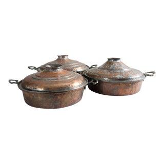 Antique Turkish Copper Steamer Pots - Set of 3 For Sale