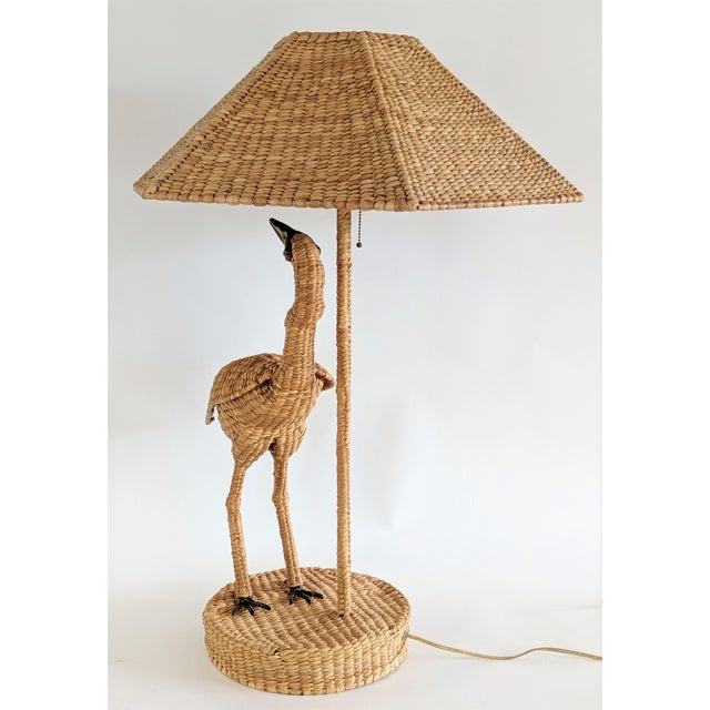 """Mario Lopez Torres Signed Egret Table Lamp. Large size measuring 36"""" tall. Brass beak. Has the metal signature tag...."""