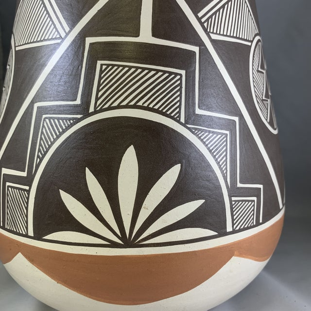 Clay Vintage Stella Teller Southwestern Polychrome Mountain Design Painted Vase For Sale - Image 7 of 13