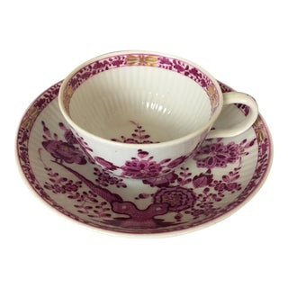 Antique Meissen Marcolini Period Purple Chinoiserie Cup and Saucer Circa 1774 - 1815 For Sale