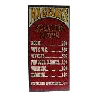 Vintage 1970s Gameroom or Bar Wooden Sign - Boarding House For Sale