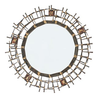 1970s Brutalist Nailhead Sunburst Mirror For Sale