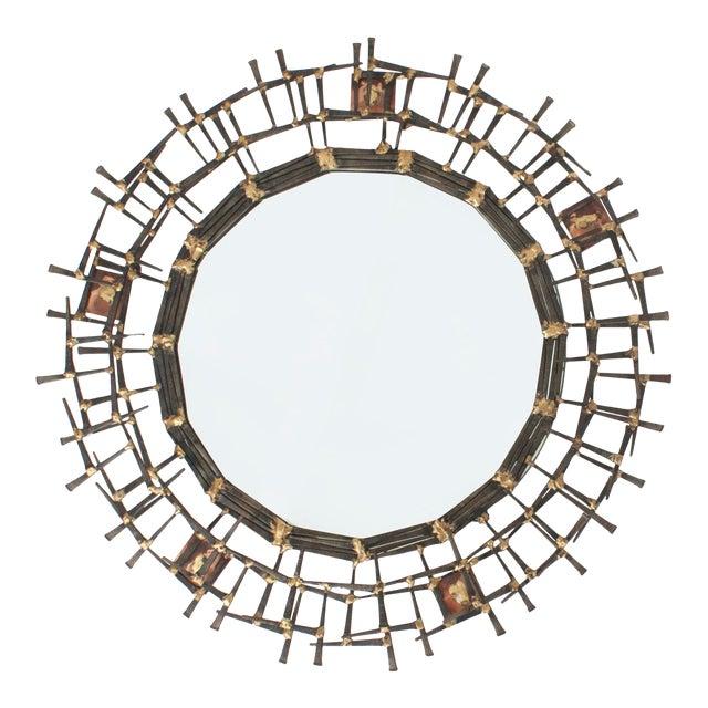 1970s Brutalist Nailhead Sunburst Mirror For Sale