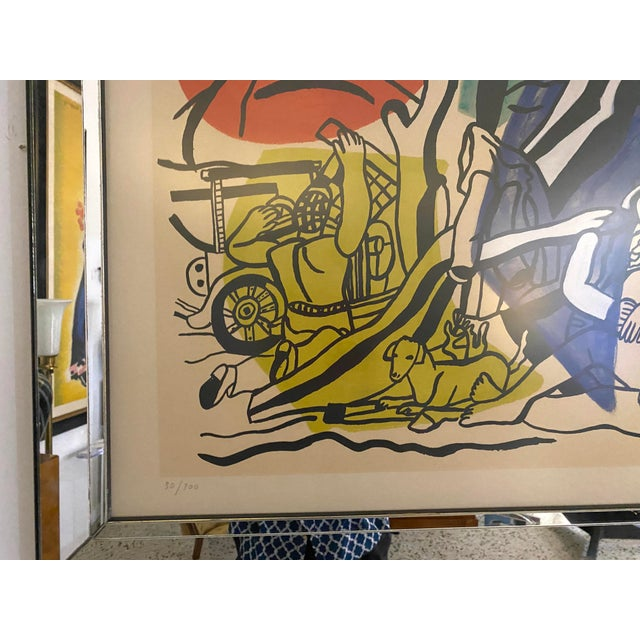 """Glass Mid-Century Modern Leger Style Lithograph """"Partie De Campagne"""" (Country Party) For Sale - Image 7 of 9"""