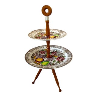 Vintage Staffordshire Style China and Wood Tiered Cake Stand Table For Sale
