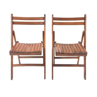 1940s Antique Slatted Folding Chairs- a Pair For Sale