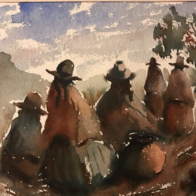 Vintage Peruvian Watercolor Painting For Sale - Image 5 of 8