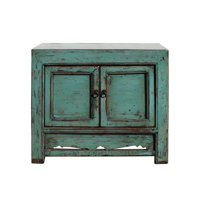Green Oriental Distressed Aqua Green Lacquer Side End Table Nightstand For Sale - Image 8 of 8